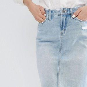 Blank NYC distressed denim skirt
